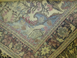 Antique Pictorial  Laver Kerman Rug.  size 4'5''x7'3''. rare and collective rug. cr 1890.