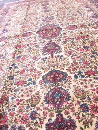 Magnificent Palace Size Antique Persian Laver Kerman Rug.
