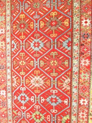Antique Caucasian Rug.  size 3'4''x9'. low price.