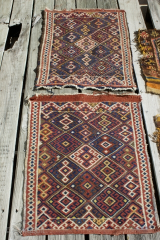 "Late 19th century Persian Shah Sevan pair of matching bag faces from khourjin, size: 2'3"" x 1'10"" each.  Diagonal rows of diamonds in chain stitch soumak technique.  Good condition.   ..."