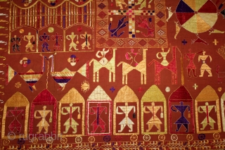 Sainchi Phulkari From East(Punjab) India.Circa 1900.Hand Spun Cotton khaddar Cloth.Sainchi are elaborate pictorial embroideries created by women in Haryana that mirror their life and beliefs,their hopes and desires.Scenes of rural life enrich  ...