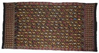 Indigo Folk Phulkari From East(India)Punjab India Called As Mor Phulkari.Rare Nazar Battu Brid Design.Extremely Fine Phulkari.(DSE01630).