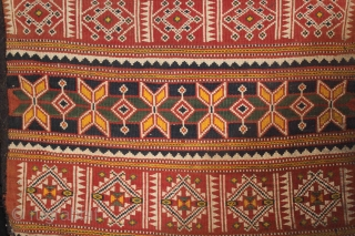 Camel Bag flatwoven textile from thar Desert Region near Jaisalmer Rajesthan India or Sind Area Pakistan.Its size is 82cm x 144cm.It was used festive occassions.(DSL03570).