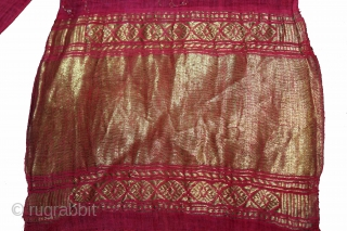 """Turban (Pagh)Used on Ceremonial Royals family of Rajasthan India.C.1900.Cotton Turban with Gold Zari Work.Its size is length 15 to 18 miter Width 19""""cm.(DSL03620)."""