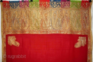 Rare Indian Antique Kashmir Shawl,Real Zari Work From kashmir India.Made to order for some Royal Family of Rajasthan.Circa 1900.Its size is 106cm X 226cm.About the condition some original repairs.(DSL01830).