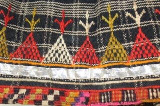 Vintage Woolen Ghaghra (Skirt) From Shekhawati District Of Rajasthan India.Worn by Vishnoi Family Women in India.The bottom hem which has been embroidered all around.Heavy Wool With Many Pleats.Its size is 8 Miters,29  ...