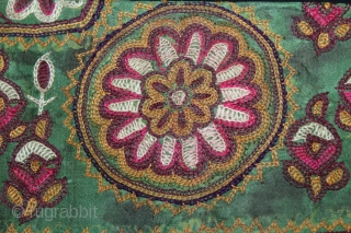 Rare Jain Book Cover Mochi Embroidered From Kutch Gujarat India.Circa.1900.Extremely fine quality chain stitched.Its size is 15cm X 26cm.(DSL03710).