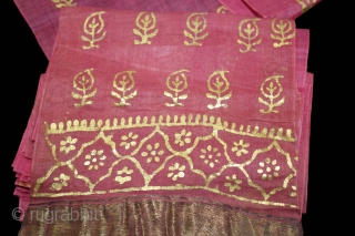 Khari Pagh(Turban) Used on Ceremonial Turban cotton Mull-Mull,Gold Paste.C.1900.Royals family Rajasthan India.Length 15 to 18 miter.(DSL03020).
