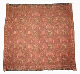 French Paisley Shwal Rumal Square Victorian Shawl with Paisley Design.Made for Indian Market.C.1900.Its size is 165cm x 171cm.(DSL03720).