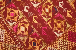 Phulkari From East(Punjab) India Called As Mor Phulkari.Beautiful colour Combination of rare Design.Walking of the Garden.Floss Silk on Hand Spun Cotton khaddar Cloth.(DSL03050).