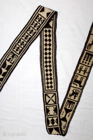 Rare Figurative Tung The Camel Decoration Belt from Rajasthan India.Goat-Hair Belt made using the Ply-Split method.Its size is W-9cm X L-288cm.(DSL03070).