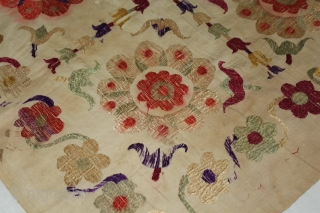 Chamba Rumal from Kangra Himachal Pradesh India.Cotton Silk Embroidered.Its size is 64cm x 64cm.(DSL01930).
