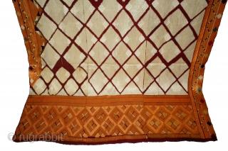 Phulkari From West(Pakistan)Punjab India Called As Chand Bagh.C.1900.Rare Design Of Pallu & Borders.Floss Silk on Hand Spun Cotton khaddar Cloth.Its size is 132cm X 254cm.(DSL03790).