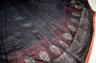 Mull-Mull cotton Ghaghra (Skirt) Silver Paste from Rajasthan India Circa.1900.Used mainly by Rajput family of Rajasthan.Its size is L-72cm X Around is 434cm.(DSL03170).