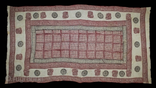 RamaVali Shawl From Dwarka region of Saurashtra Gujrat India.C.1900.Hand Woven Cotton Mull-Mull.(DSL03200).