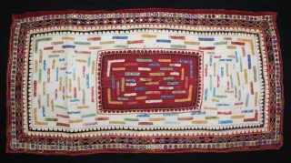 Baby Quilt Embroidered and Appliqued work Made by Gadhvi (Chaaran) Community of Dwarka region of Saurashtra Gujrat India.Very Fine Mirror and Patch work on edges and Running stitches all over.Very unusual and  ...