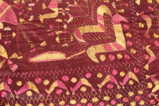 Sainchi Phulkari are mostly Figurative Pieces Narrating the life in the villages of East (Punjab) India.C.1900.Local animals like goats, cows, elephants, big cats, scorpions, peacocks,etc are represented moving in and around the  ...