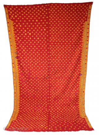Odhani Woman's Headcover Both side Hand Embroidery Cotton Khadi from Rajasthan India.C.1900.Its size is w 140cm x l 244cm.(DSL03290).