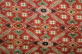 """Patola Sari Double Ikat.Woven with Vohra-Gaji-Bhat,Used by the Vohra Muslim Merchant Caste From Patan Gujarat India.This pattern is called """"Vohra Gaji Bhat"""", A design favored by the Vohra Muslims.Its Size is 118cm  ..."""