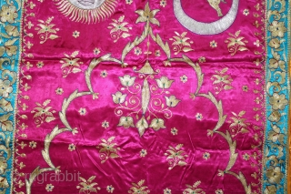 Jain Temple Hanging Aari Zari (Real Silver and Gold) Embroidery On Gajji Silk, From Kutch Gujarat India.C.1930.Its size is 82cm X 170cm.(DSL03320).