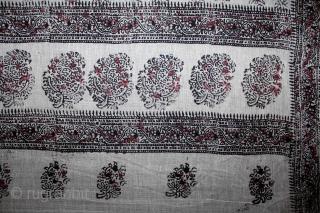 Sanganeri Hand Block-Printed on Mull-Mull Cotton Safa(Turban) know As Sanganer Rajasthan India.C.1900.Its size is 7 yard.(DSL03370).