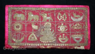 Jain Book Cover on (Silk) Jain Aari Work with Real (Zari) Embroidery From Kutch, Gujarat India.C.1900.Its size is 16cm X 30cm.(DSL03480).