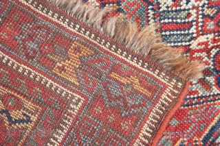Late 19th century Kamseh rug, full pile, ends and selvedges fine, colours good.75in by 59in