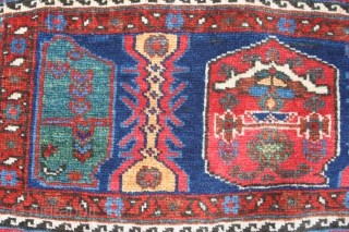Late 19th - early 20th century Afshar mafrash panel Gorgeous natural saturated colours, in full pile. Some small old repairs (see pics for detail) 51in by 16in