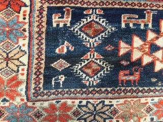 Veramin area mafrash panel, probably Osanlu 40in by 14in unusual design Great condition, a larger than normal range of good colours. Some old but excellent repairs