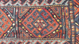 Large antique Kordi grain bag, good colours, great condition 44in by 31in
