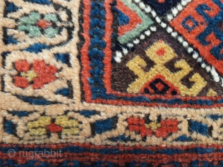 Antique Kurd bag. Excellent saturated colours, great condition  Some areas where the brown has corroded to the knot base 21in by 29in