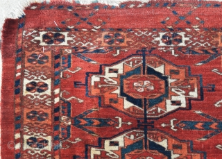 Mid 19th century Tekke 6-gul torba. Some minor condition issues, but stunning colours, clear graphics, and lovely velvety wool. A stunner. 45in by 16in