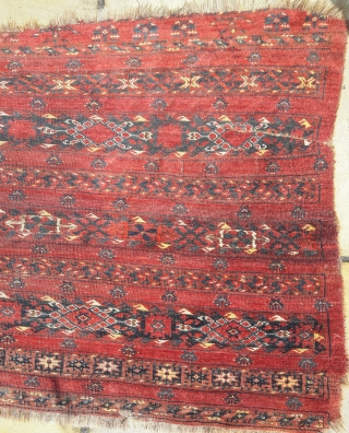Late 19th century Ersari chuval, soft wool, good colors, but very distressed 90cm by 190cm