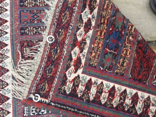 Antique and unusual Afshar soumak sofreh. Recent barber's pole re-selvedge. Worn condition 123cm by 88cm
