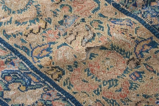19th century gillet Persienne fragment, mounted on linen. Condition a little threadbare, so inexpensive. 45cm by 50cm