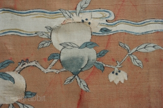 Chinese painted kossu panel, mounted, in delicate condition.