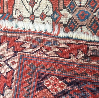 Late 19th century Afshar bagface, distressed edges, some small areas of wear, but fantastic saturated colours 30in by 18in