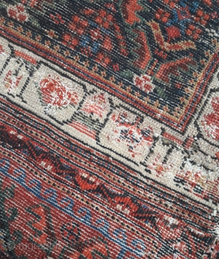An unusual pair of antique N.W.Persian bags, piled front and back, recovered from use in upholstery. Some obvious areas of horrible re-piling, but colours are vibrant and saturated, and the wool is  ...