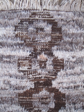 """Child's Karapinar Tulu.....early 20th....un-dyed wool and Angora goat hair.... 2'3"""" x 4' ( 70cm x 120 cm )...condition as found and shown"""