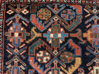 Antique Afshar bag. 2ft1in x 2ft8in. Great design on a deep indigo field. Wonderful rich colors throughout and the sumak weaving on the top of the bag is in perfect condition with  ...