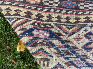 """Late 19th century Shirvan prayer rug. 3'4"""" x 4'10"""". Has some old fuschine which is now grey. Beautiful colors. No holes, good pile, just the missing edges in some areas. Cheers."""