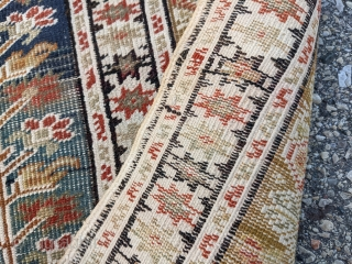 """19th century NW Anatolian Bandirma prayer rug. 4'0"""" x 5'5"""". Beautiful abrash and great tealish color. It's difficult to capture the colors and wonderful apricot and yellow tones."""