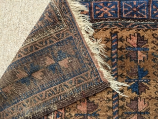 """Antique Baluch camel ground prayer rug, possibly Timuri. Tight weave, soft wool with a very floppy handle. Great range of colors. Love the dark blues in this. 3'0 x 4'6"""".  Cheers"""