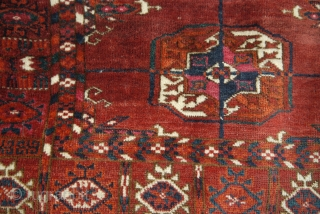 Antique Turkmen Tekke Khale wedding rug. Approx. 48 X 42 inches 122 X 107 cm).  Last quarter 19th c. Wool on wool, with good colours and soft abrash. Sparing use of cochineal.  ...