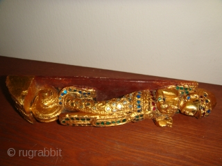 """Rare, Antique 19thCentury Burmese Male & Female Guardian Spirit (""""Nat"""") wooden satuettes. Lacquered, Gold-gilt with coloured mirror-glass inlay. Made as handles for a Prayer chamber door and/or cupboard for storing religious articles.  ..."""