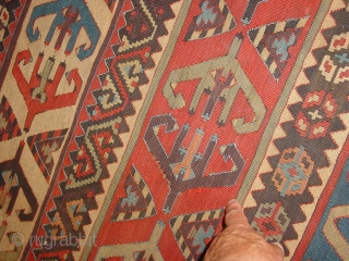 fabulous large sivas kilim part  midth 19th century? or older , wonderful natural colors, very minor repair, no stains,  216x87cm 7.2x2.9ft