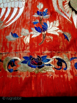 19th Century Chinese Textile Size: 198x61cm (6.3x2.0ft) Natural colors. silk