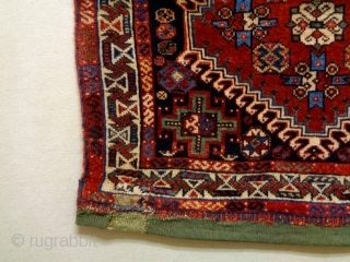 19th Century Universal Qasqhay Bagface Size: 65x64cm (2.2x2.1ft) Natural colors, there are three old repairs
