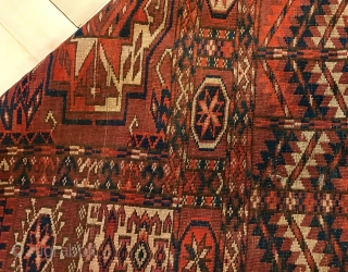 Beautiful 19th century Turkoman Tekke wedding rug with primary torba guls. Overall good condition with few old repairs. Size is 145x123 cm ( ca. 48x57 inches).