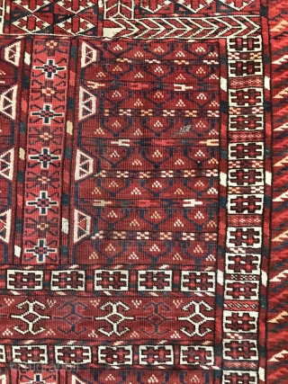 "Fine unusual 19th century Tekke Engsi. Interesting design elements and good color and quality. Size is: 158x118 cm (62""x46"")."